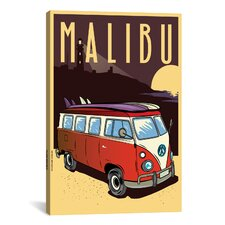 'Malibu' by American Flat Vintage Advertisment on Canvas