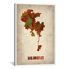 Los Angeles Watercolor Map by Naxart Graphic Art on Canvas