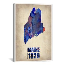 Maine Watercolor Map by Naxart Graphic Art on Canvas