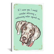 Weimaraner Restraining Order Canvas Print Wall Art