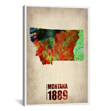 Montana Watercolor Map Graphic Art on Canvas