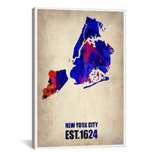 New York City Watercolor Map I by Naxart Graphic Art on Canvas