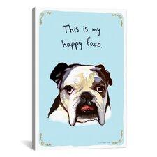 Ecstatic Bulldog Canvas Print Wall Art