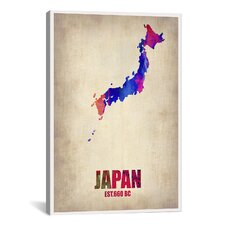 Japan Watercolor Map Print by Naxart Graphic Art on Canvas