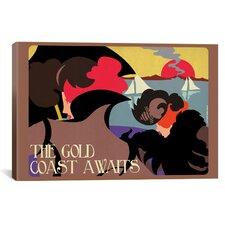 American Flat Gold Coast Painting Print on Canvas
