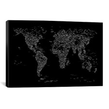 Font World Map by Michael Tompsett Graphic Art on Canvas in Black