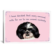 Tiny Confessions Shih Tzu Commands Canvas Print Wall Art