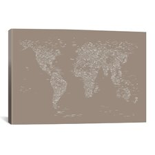 Font World Map by Michael Tompsett Graphic Art on Canvas in Beige