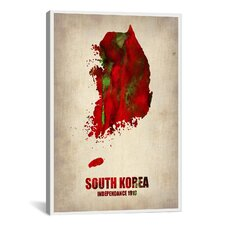 South Korea Watercolor Map by Naxart Graphic Art on Canvas
