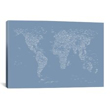 Font World Map by Michael Tompsett Graphic Art on Canvas in Light Blue