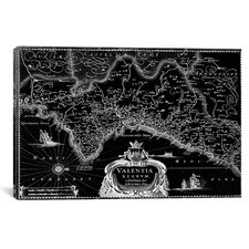 Antique Map of the Valentia Kingdom (1634) by G and J Blaeu Graphic Art on Canvas in Black