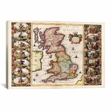 Antique Map of the British Isles (1653) by Joan Janssonius Graphic Art on Canvas in Color