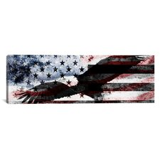 Bald American Eagle, U.S. Flag Graphic Art on Canvas in Red / Blue