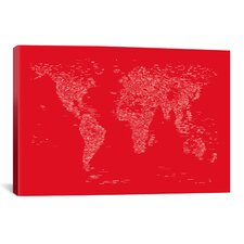 Font World Map by Michael Tompsett Graphic Art on Canvas in Red