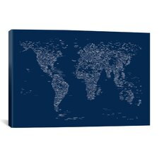 Font World Map by Michael Tompsett Graphic Art on Canvas in Blue
