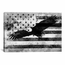 Bald American Eagle, U.S. Flag Graphic Art on Canvas