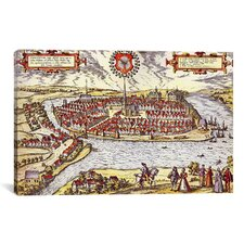 Antique Map of Kiel (1572) by Georg Braun and Franz Hogenberg Graphic Art on Canvas in Color