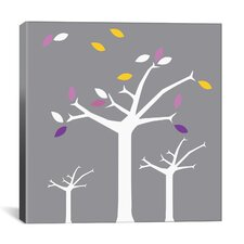 Autumn Trees Graphic Art on Canvas in Gray