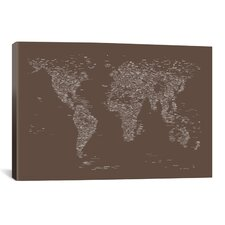 Font World Map by Michael Tompsett Graphic Art on Canvas in Brown