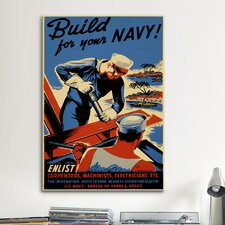Build for Your Navy! Recruiting Vintage Advertisement on Canvas