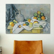 'Curtain (Jug and Bowl of Fruit)' 1893-1894 by Paul Cezanne Painting Print on Canvas