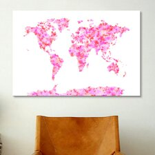 'Love Hearts Map of the World' by Michael Tompsett Graphic Art on Canvas