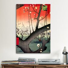 'Plum Garden over Shin-ohashi Bridge' by Ando Hiroshige Painting Print on Canvas