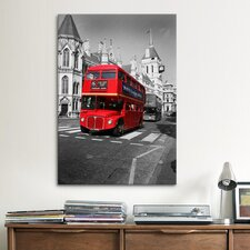 'Red Bus' by Chris Bliss Photographic Print on Canvas