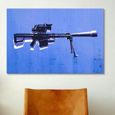 'M82 Sniper Rifle on Blue' by Michael Tompsett Graphic Art on Canvas