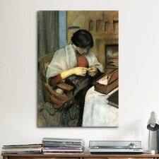 'Elisabeth Gerhardt Sewing' by August Macke Painting Print on Canvas