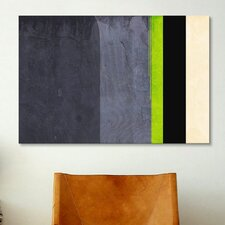 Honeydew Slate Striped Graphic Art on Canvas