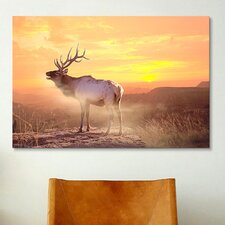 'Elk Sunrise in the Badlands' by Gordon Semmens Photographic Print on Canvas