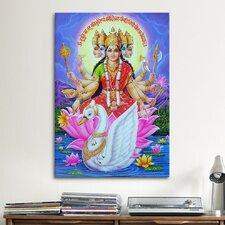 Hindu Goddess Gayatri Graphic Art on Canvas