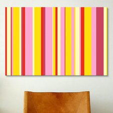 Striped Art Fruity Ice Cream Desert Graphic Art on Canvas