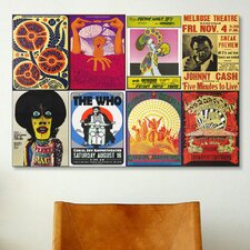 Johnny Cash, the Who, Fleetwood Mac, the Doors, Jefferson Airplane Concert Vintage Advertisement on Canvas