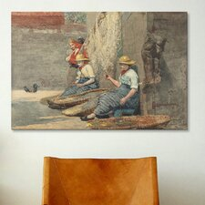'Fishergirls Coiling Tackle 1881' by Winslow Homer Painting Print on Canvas