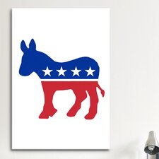 Political Democratic Party Donkey Symbol Graphic Art on Canvas