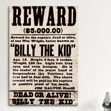 Mugshot Billy the Kid Textual Art on Canvas