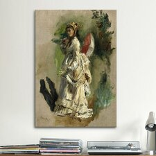 'Jeune Femme A L'ombrelle 1868' by Pierre-Auguste Renoir Painting Print on Canvas