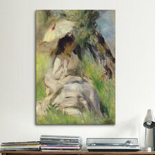 'Jeune Femme A L'ombrelle 1872' by Pierre-Auguste Renoir Painting Print on Canvas