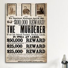 Mugshot Dead or Alive - Murderer Wanted Textual Art on Canvas