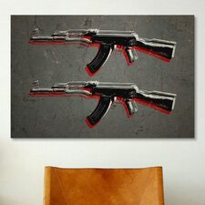 'AK47 Assault Rifle' by Michael Tompsett Painting Print on Canvas