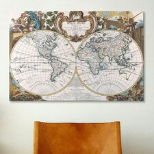 Antique Double Hemisphere Map of The World Graphic Art on Canvas