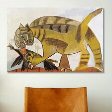 'Cat Devouring a Bird (Chat Saisissant un Oiseau)' by Pablo Picasso Painting Print on Canvas