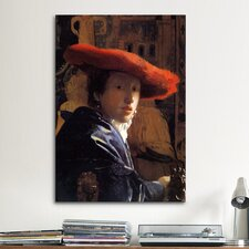 'Girl with a Red Hat' by Johannes Vermeer Painting Print on Canvas