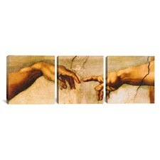 Michelangelo The Creation of Adam Di Lodovico Buonarroti Simoni 3 Piece on Canvas Set