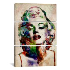 Michael Thompsett Watercolor Marilyn Monroe 3 Piece on Canvas Set