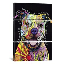 Dean Russo Beware of Pit Bulls 3 Piece on Canvas Set