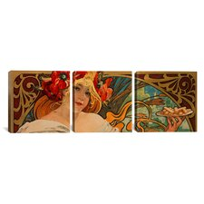 Alphonse Mucha Biscuits Lefevre Utile 3 Piece on Canvas Set