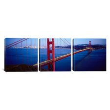 Panoramic Photography San Francisco Skyline Cityscape (Golden Gate Bridge) 3 Piece on Canvas Set